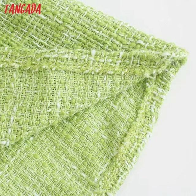 Tangada Women Green Tweed Dress Sleeveless Backless 2021 Fashion Lady Shirt Dresses 3H187 5