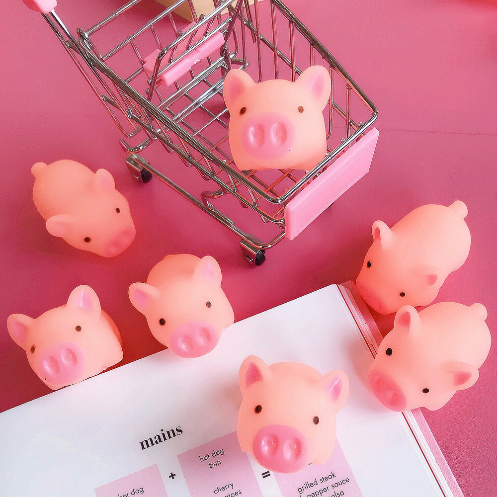 Funny Cartoon Squishy Pink Pig Mochi TPR Squeeze Phone Straps DIY Decor Accessories Fun Joke Toy Gift Antistress Toys