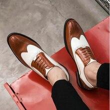 Новые лоскутные Туфли-оксфорды в итальянском стиле Для мужчин с перфорацией типа «броги»; свадебные туфли из кожи на шнуровке; деловые, вечерние туфли Для мужчин Элитная одежда обувь LK-68