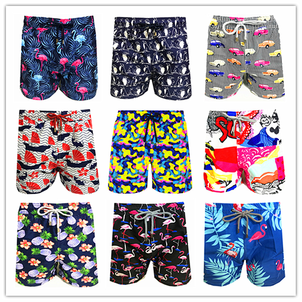 2020 Brand Brevile Pullquin Beach Board Shorts Men Turtles Swimwear Flamingo Pineapple Penguin Male Boardshorts 100% Quick Dry