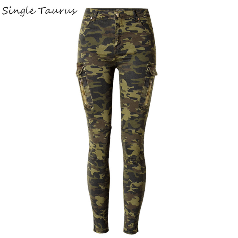 Military Style England Fashion Slim Skinny Jeans Women Camouflage Pockets Vintage Trousers Mujer Push Up Denim Pencil Pants 2019