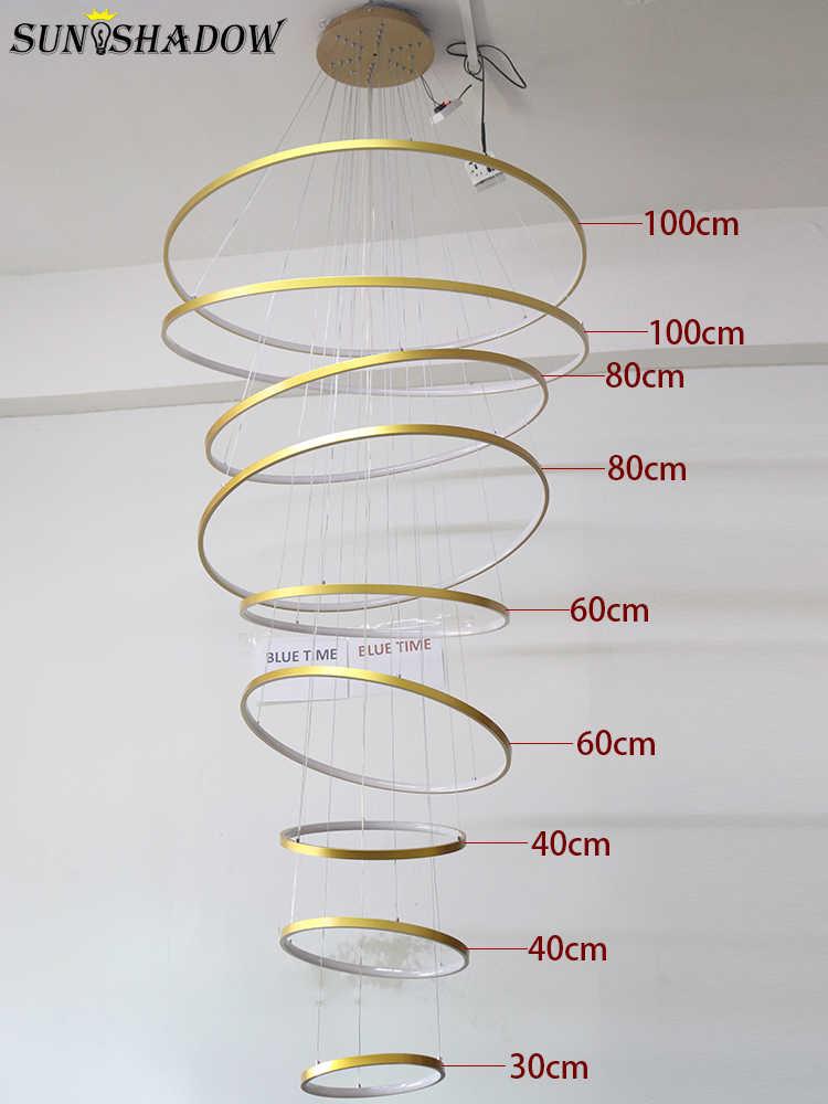 Candelabro Led moderno para vestíbulo, Hotel, sala de estar, Luminiare, 9 anillos circulares, 100cm, anillos, candelabro, iluminación, lámpara colgante, 110V, 220V