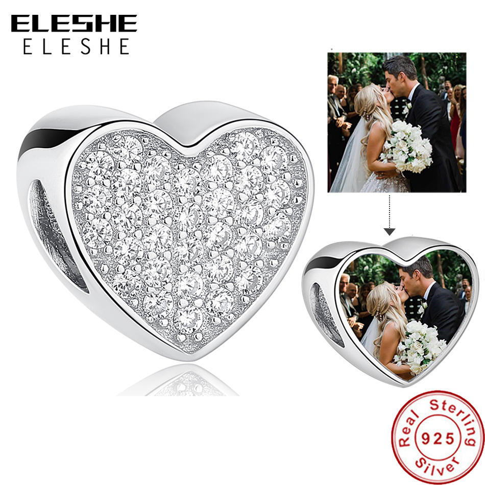 Personalized 925 Sterling Silver Custom Photo Beads Pave Cubic Zirconia Heart Charms Fit Pandora Bracelet Women DIY Jewelry 2019