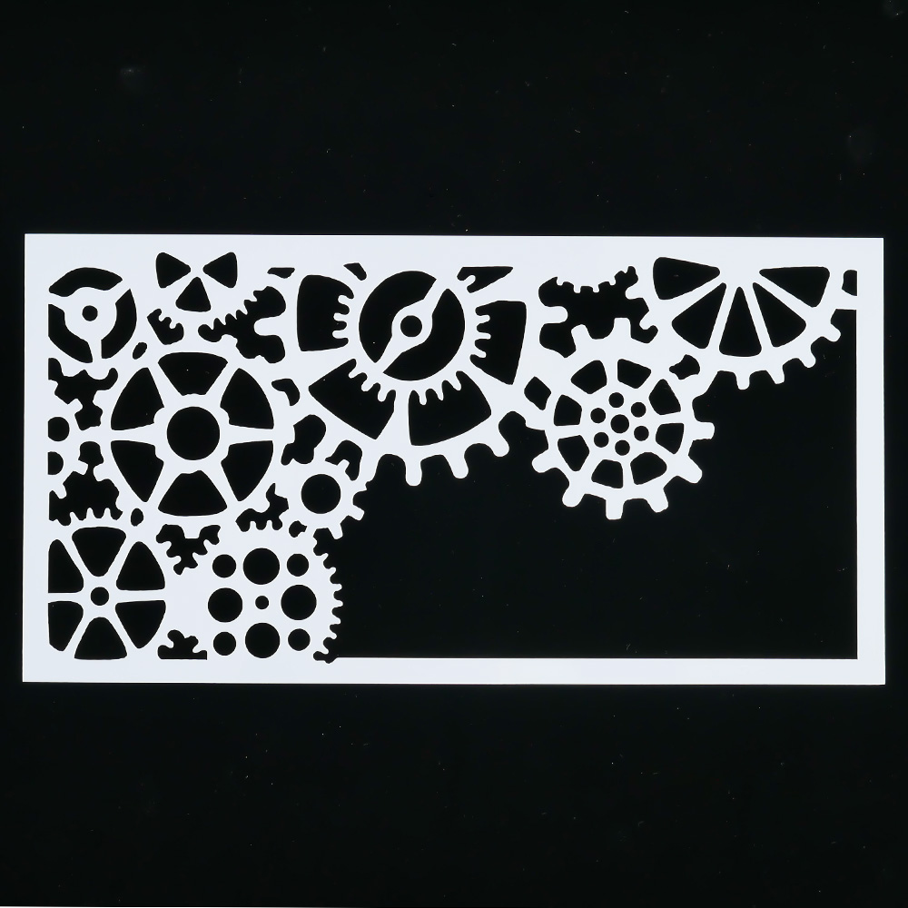 1PCS Wheel Gear Reusable Stencil Airbrush Painting Art DIY Home Decor Cake Spray Mold Album Craft