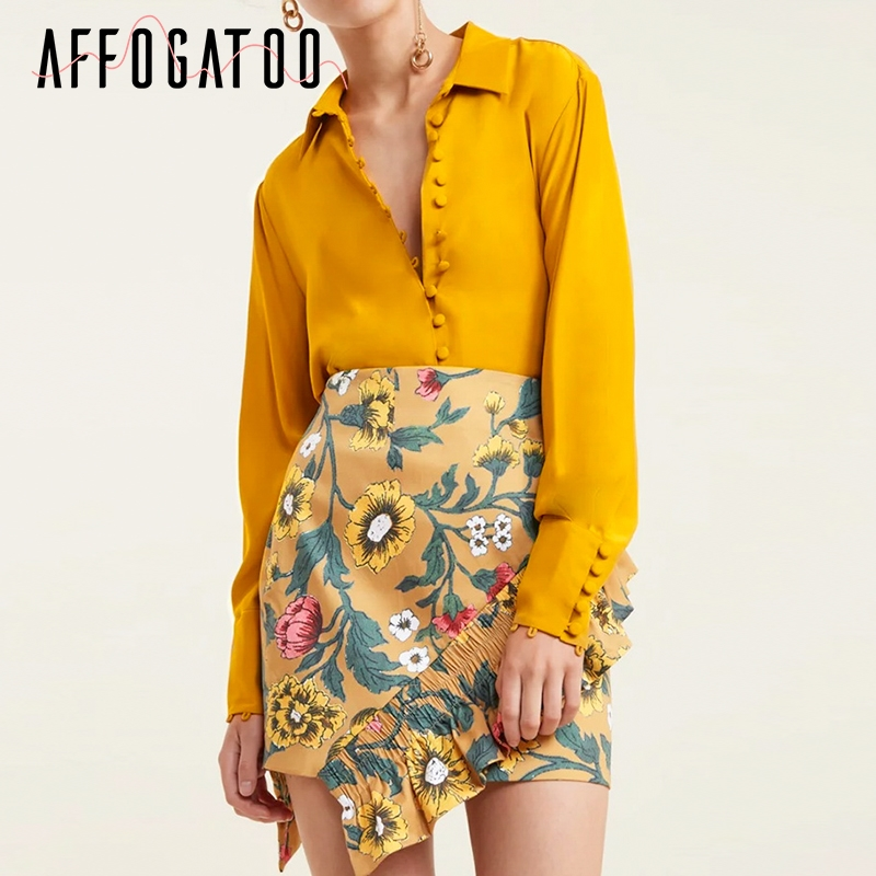 Affogatoo Elegant Buttons Women Poplin Blouse Shirt Long Sleeve Autumn Winter Female Blouse Top Vintage Ladies Yellow Tops Shirt