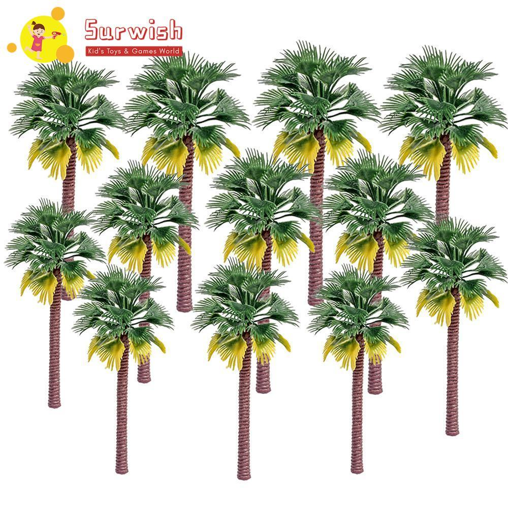 Surwish 10/12pcs 7/9/12/15cm Plastic Coconut Palm Tree Train Railroad Architecture Diorama Coconut Palm Tree Model Building Kits