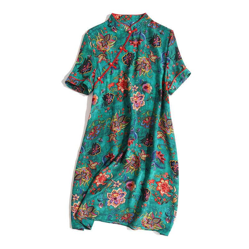 Real Zijden Jurk Voor Vrouwen Print Bloemen Zomer Jurken Fashion Mini Jurk Elegante Vintage Party Dress Vestido Mujer P9373 YY2524