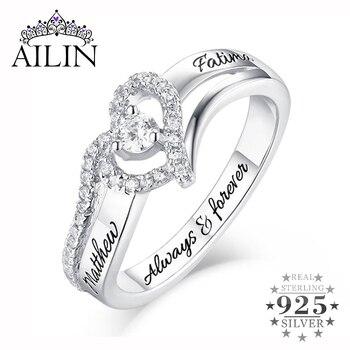 AILIN, superventas, anillos de compromiso personalizados para mujer, anillo de plata esterlina con forma de corazón CZ para novia, joyería de pareja para mujer