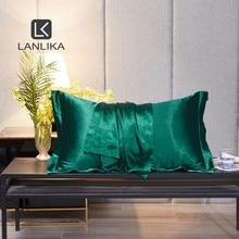 Lanlika Luxury 100% Silk Dark Green Beauty Pillowcase Healthy Bed Pillow Case Home Textile Healthy Pillow Cover  Free Shipping