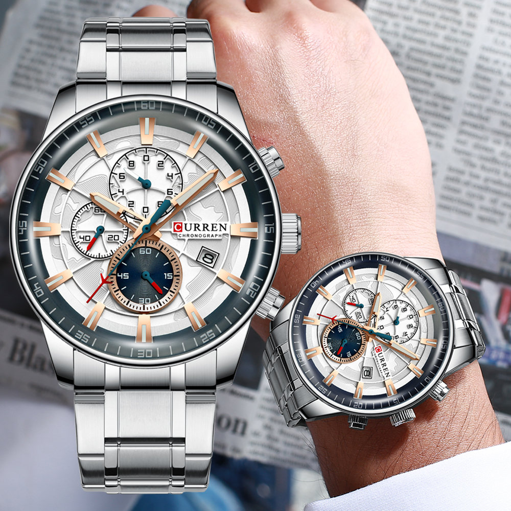 Image 2 - Mens Watches CURREN New Fashion Stainless Steel Top Brand Luxury Multi function Chronograph Quartz Wristwatch Relogio MasculinoQuartz Watches   -