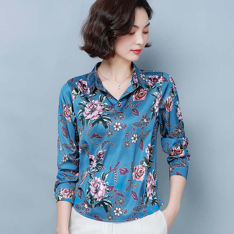 Korean Silk Women Shirts Elegant Woman Satin Blouses Tops Plus Size 4XL/5XL Women Floral Blouse Shirt Blusas Femininas Elegante