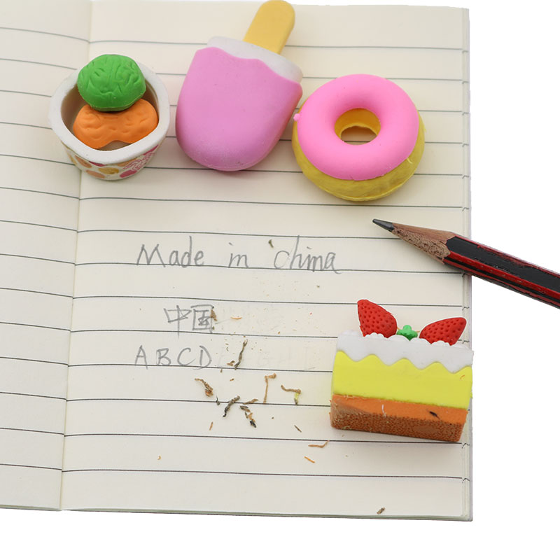 4 Pieces / Set, Cake Dessert Donut Rubber Soft Eraser Art Painting Design Stationery Children Gift Office Writing Supplies