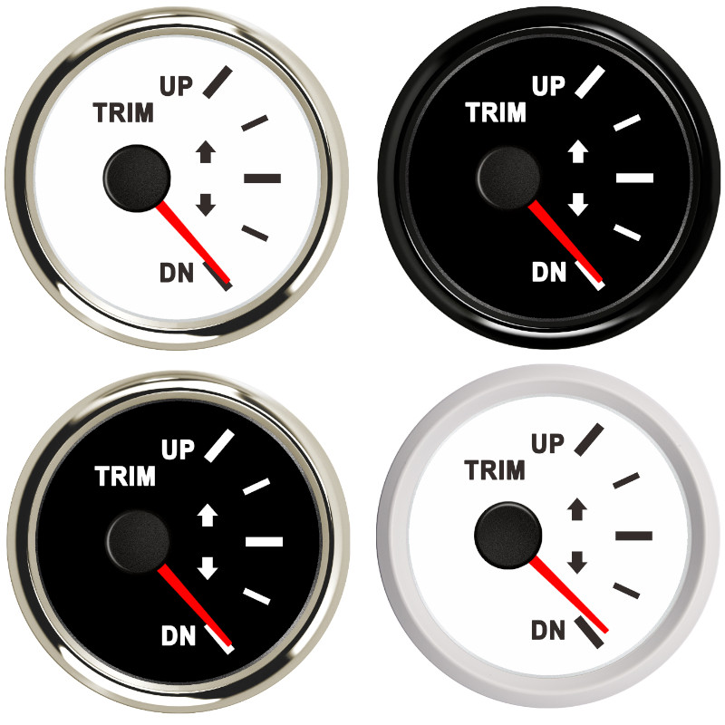2'' 52mm Up to Dn Marine Boat Trim Gauge 0-190ohm Trim Meters fit Marine Yacht Boat with Red Backlight 12V 24V