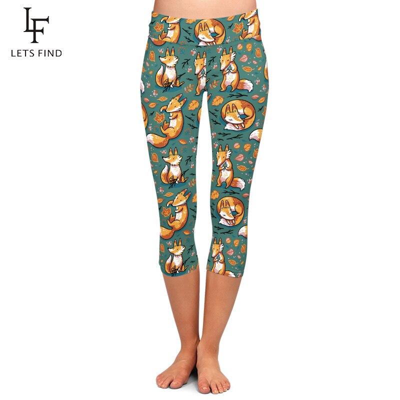 New Design 3D Digital Printing Fox Capri Leggings High Waist Elastic Trousers Fashion Mid-Calf Women Leggings