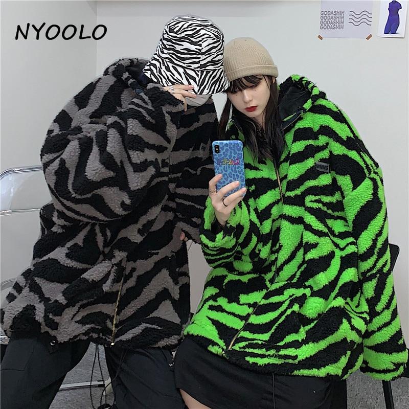 H5afdb474693f4f6f982bcca61a218615c NYOOLO 2020 Winter Streetwear Zebra Pattern Lamb Woolen Thicken Warm Zipper Hooded Padded Coats Women Men Harajuku Loose Outwear