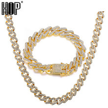 Hip Hop 1Set 13MM Bling Iced Out Miami Zircon Cuban Full Pave Rhinestone Mens Bracelet Necklace Gold Silver For Men Jewelry