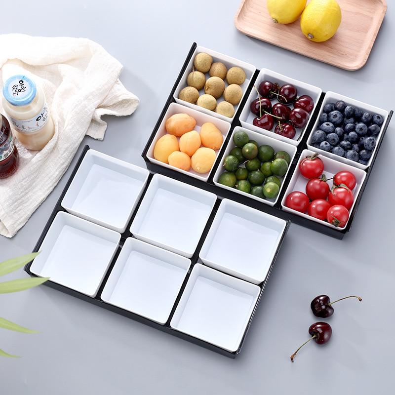Creative Dessert Tray Multi-grid Plate Tray Platters Plastic Fruit Snack Storage Box Tea Food Dish Kitchen Trays Decorative