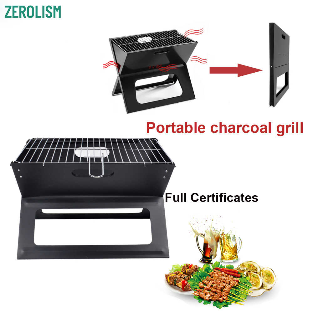 Portátil de acero inoxidable Notebook barbacoa BBQ plegable maleta Campfire X parrillas Mesa Camping carbón plegable barbacoa parrillas