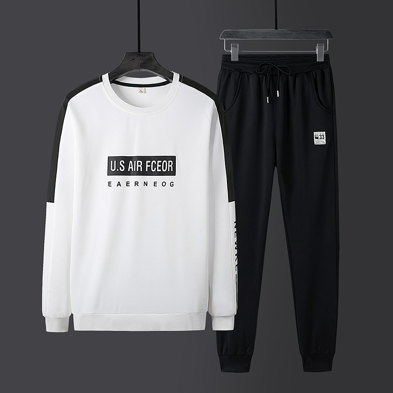 New Style Spring And Autumn Men Casual Crew Neck Printed Hoodie Suit Teenager Students Korean-style Trend Sports 2 Pieces