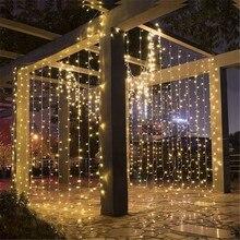 Guirnalda de luces LED con control remoto, 204/304/576 luces LED parpadeantes para Navidad, Año Nuevo, cortina para el hogar, decoración de ventanas