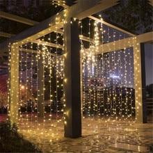 LED ضوء سلسلة جارلاند البعيد 204/304/576 LED الجنية جليد وميض أضواء لعيد الميلاد السنة الجديدة المنزل الستار نافذة الديكور