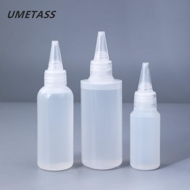 30ML,60ML,100ML Empty PE Plastic Glue Bottles With Screw-On Lids Squeeze Liquid Ink Oil Dropper Bottles 10PCS/lot