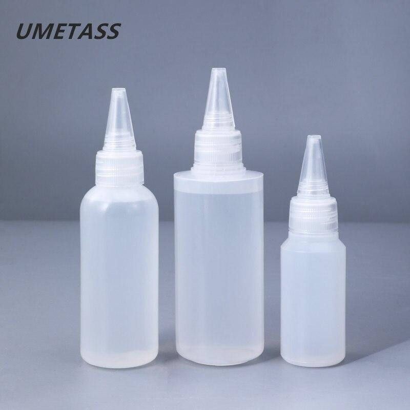 UMETASS 30ML,60ML,100ML Empty PE Plastic Glue Bottles With Screw-On Lids Squeeze Liquid Ink Oil Dropper Bottles 10PCS/lot