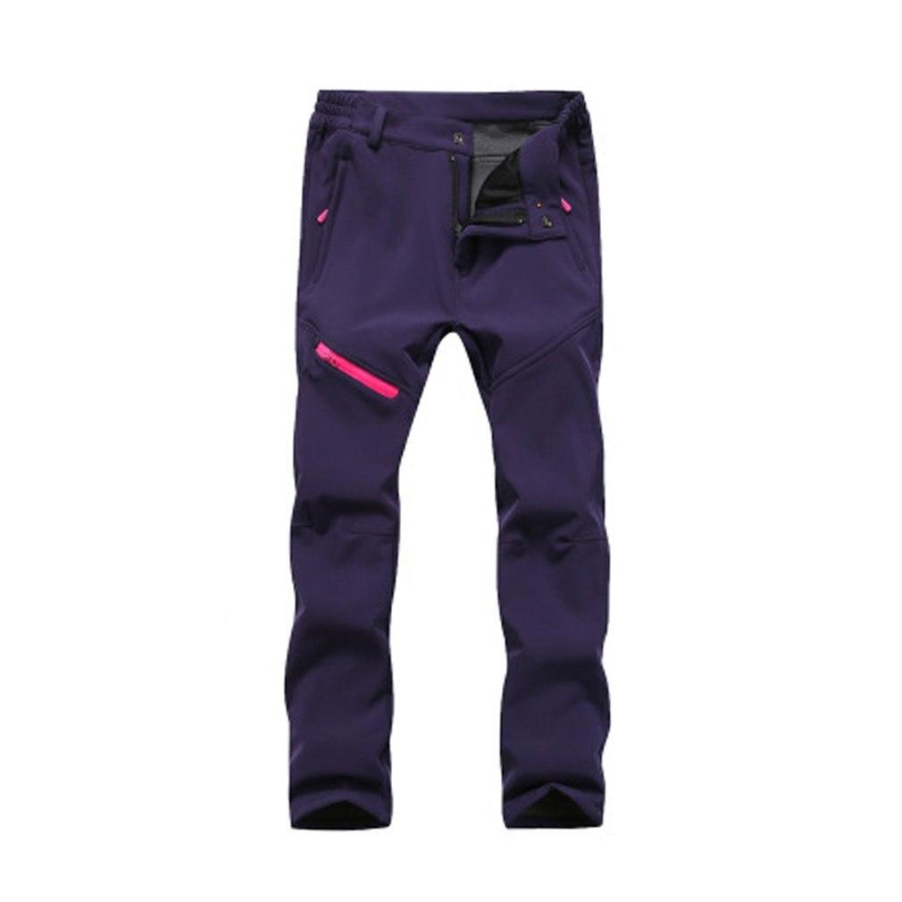 Thick Soft Warm Men Women Pants Solid Color Zipper Closure Waterproof Windproof Elastic Trousers Outdoor Climbing Long Pants