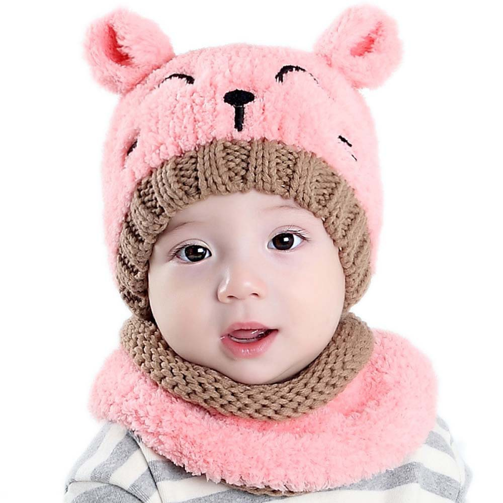Children's Knitted Hat Plus Velvet Scarf Korean-style Cute Baby Two-Piece Set Wool Cap Bear Warm Set Of Head Cap