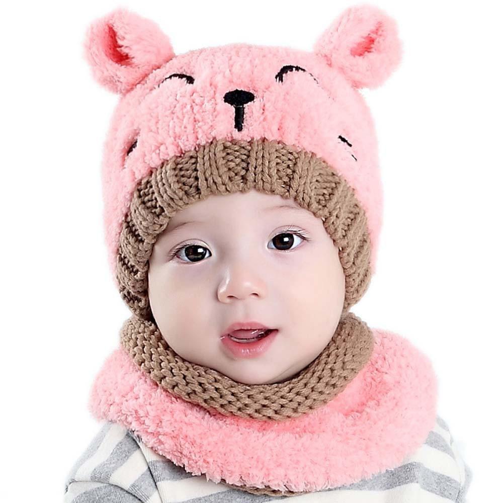 Children's Knitted Hat Plus Velvet Scarf Korean-style Cute Baby Two-Piece Set Wool Cap Bear Warm Set Of Head Cap