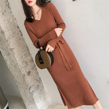 Fashion Korean Sweater Dress Women V-neck Sweaters Dresses Woman Knitted Bodycon High Waist