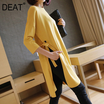 DEAT 2021 Fast Delivery Mature Elegant Sweater Women Knit Vintage All colors availab Side Lace-up Slim Loose Pullover 19M-a278 1