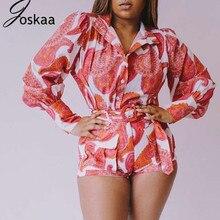 цена на Joskaa Print Hit Color Two Piece Set Lapel Collar Lantern Sleeve Blouse High Waist Lace Up Short Casual Suit Women 2020 Holiday