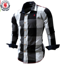 Новые мужчины Хлопок клетчатая рубашка Длинные рукава Тонкий Fit Платье Рубашки Casual Мода Бизнес Социальная рубашка Плюс размер M-3XL 099