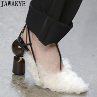 2019 Autumn Runway style Pumps for ladies sheep hair Wrap toe lace up Women Shoes pointed toe strange high Heels shoes women