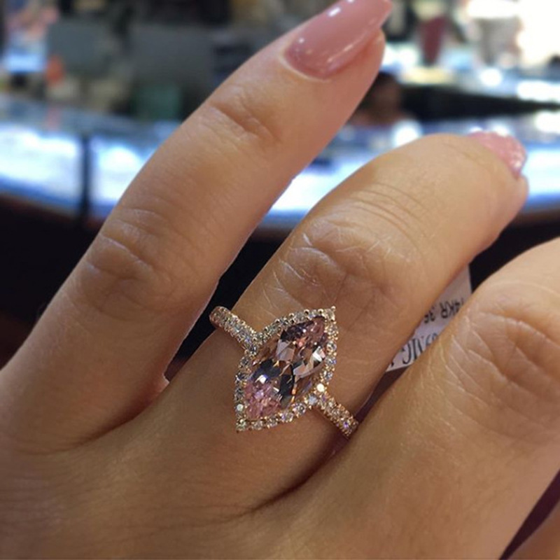 Peigen Women Engagement Bridal Ring,Vintage Fashion Rings,Luxurious and Elegant Diamond Pink Champagne Hollow Ring Ladies Jewelry