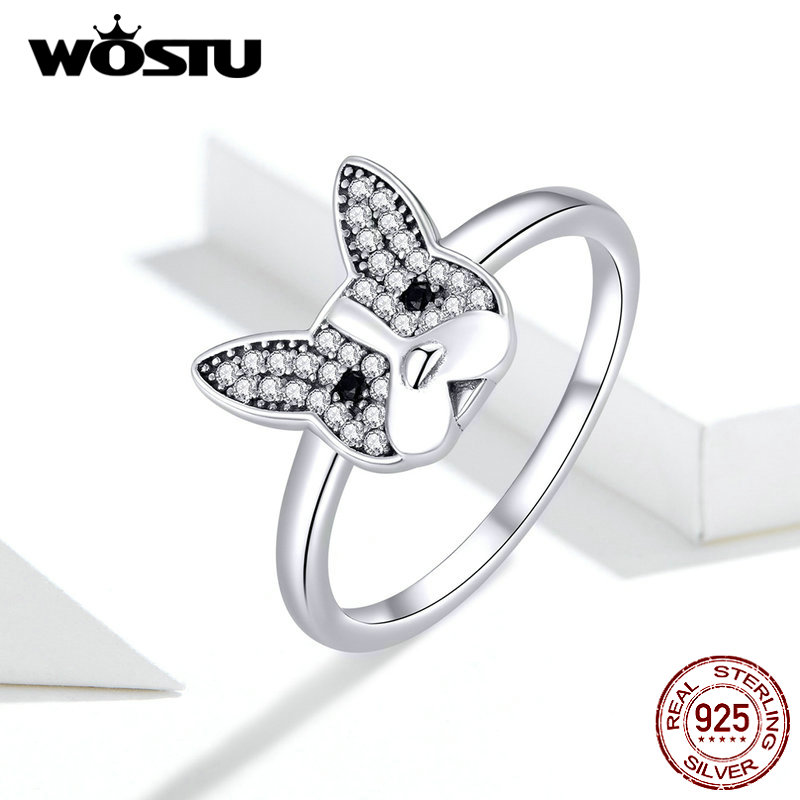 WOSTU 2019 New Arrival 925 Sterling Silver French Bulldog Rings Adjustable Open Size For Women Wedding Fashion Jewelry FIR612