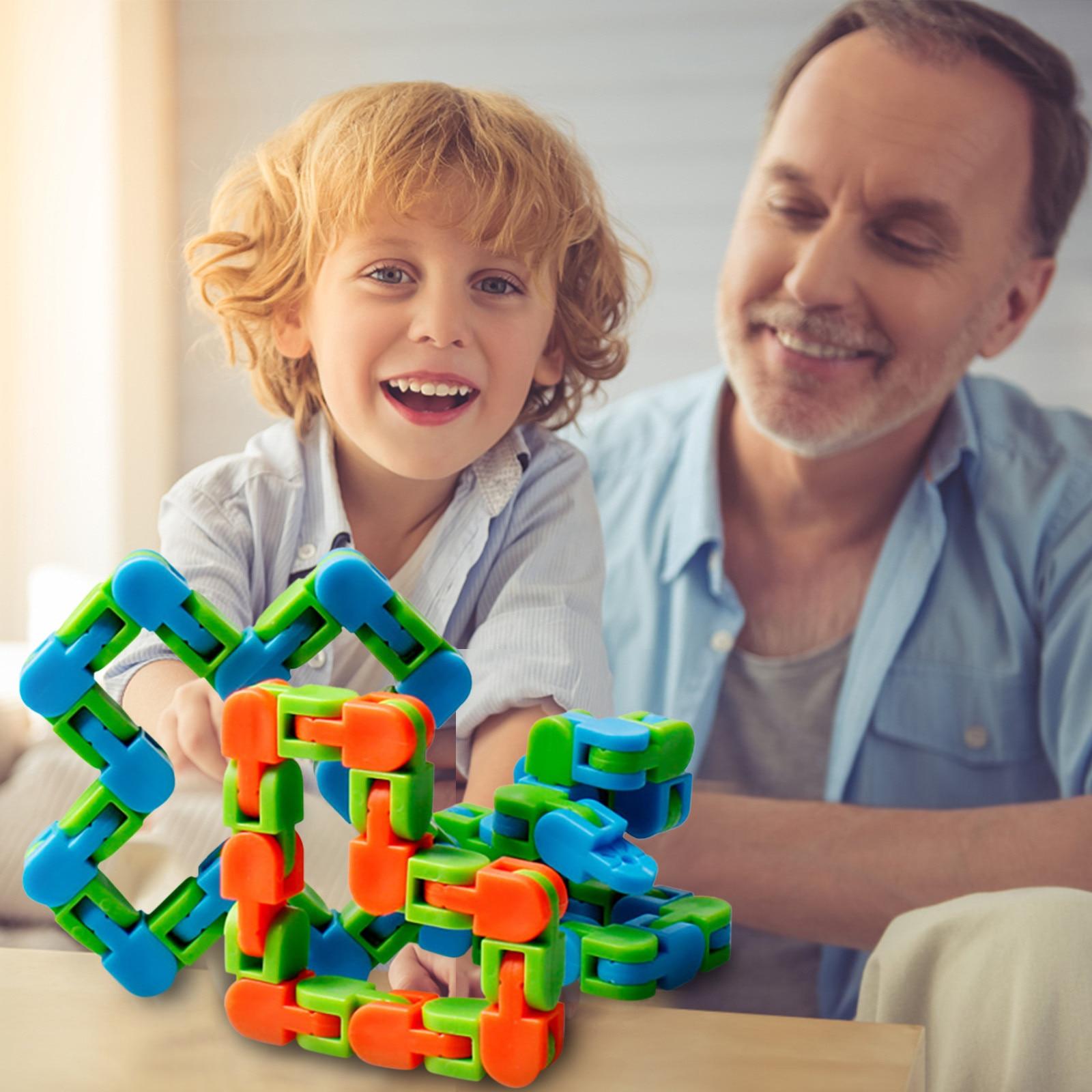 1/3/5/7/9 pçs cobra quebra-cabeças clássico brinquedos sensoriais multicolorido louco faixas snap clique crianças cobra quebra-cabeças clássico sensor brinquedos