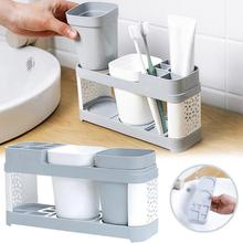 Toothbrush Holder Stand Plastic Cup Set Shelf Bathroom Toothpaste Storage Rack washing  toothbrush holder A1