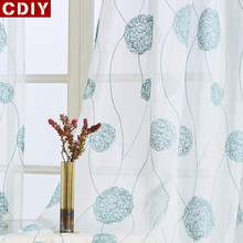 CDIY White Embroidered Sheer Window Curtains Tulle Curtain for Bedroom Living Room Kitchen Voile Curtains for Blind Drapes