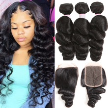 Brazilian Hair Weave Bundles With Closure Remy 30 Inch Loose Wave Bundles With Closure Loose Deep Wave 3 Bundles With Closure