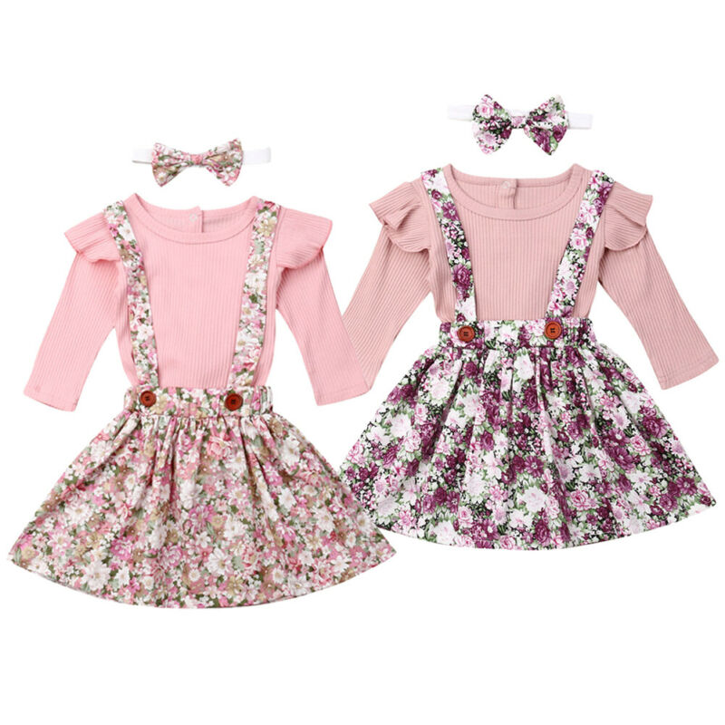 Emmababy Newborn Kids Baby Girls Clothes Long Sleeve Tops Romper Floral <font><b>Bib</b></font> <font><b>Skirt</b></font> Outfits Set 0-24M image