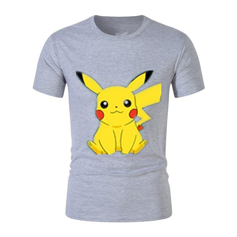 Футболка с принтом Покемон Пикачу, аниме, модные мужские футболки, 100% хлопок, короткий рукав, 5XL, футболки, топы, TX027