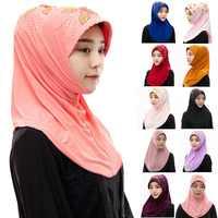 Летняя индонезийская бисерная мгновенная шапка под хиджаб, простой тюрбан, тонкий женский мусульманский головной платок, шапка, готовая к и...