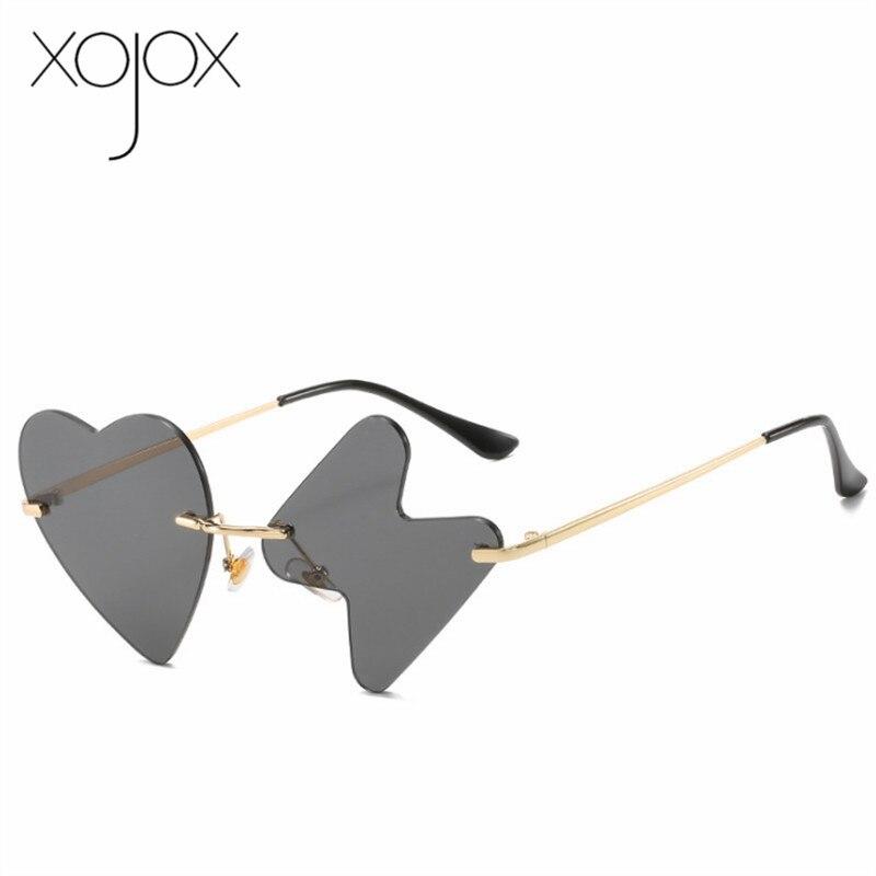 XojoX Vintage Funny Sunglasses Women Luxury Brand Designer Heartbeat  Rimless Sun Glasses Ladies Heart Shape Eyeglasses UV400
