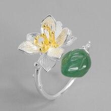 מקורי בעבודת יד 100% אמיתי 925 סטרלינג כסף לוטוס שיבוץ ירקן ירוק/ורוד קריסטל טבעת פתוחה נשים אופנה בוטיק תכשיטים