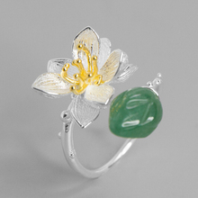 Original Handmade 100% Genuine 925 Sterling Silver Lotus Inlay Green Jade/Pink Crystal Open Ring Women Fashion Boutique Jewelry