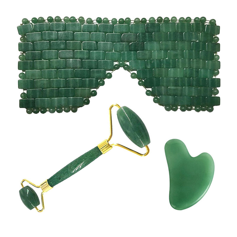 Aventurine Cooling Eye Mask Natural Jade Sleep Eye Cover Face Massager Facial Massage Tool Jade Roller Guasha Board Scraper Set