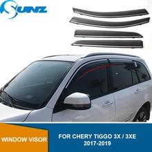 Car Side Window Deflectors For Chery Tiggo 3x / 3XE 2017 2018 2019 Window Visor Vent Shades Sun Rain Deflector Guards  SUNZ