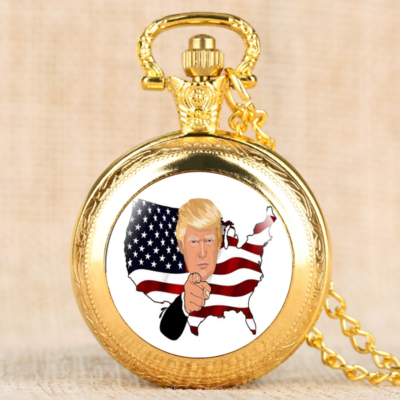 Royal Donald Trump President Souvenir Necklace Quartz Pocket Watch American Flag Pendant Chain Clock Collectibles Gifts For Fans